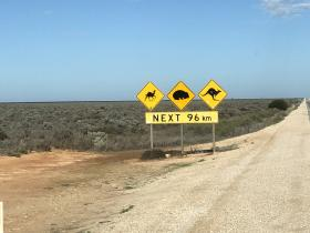 2020-03-27  Nullarbor signpost - long stretches of dead straight, flat road!