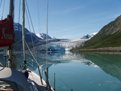 Nereida at anchor in Reid Inlet, Alaska