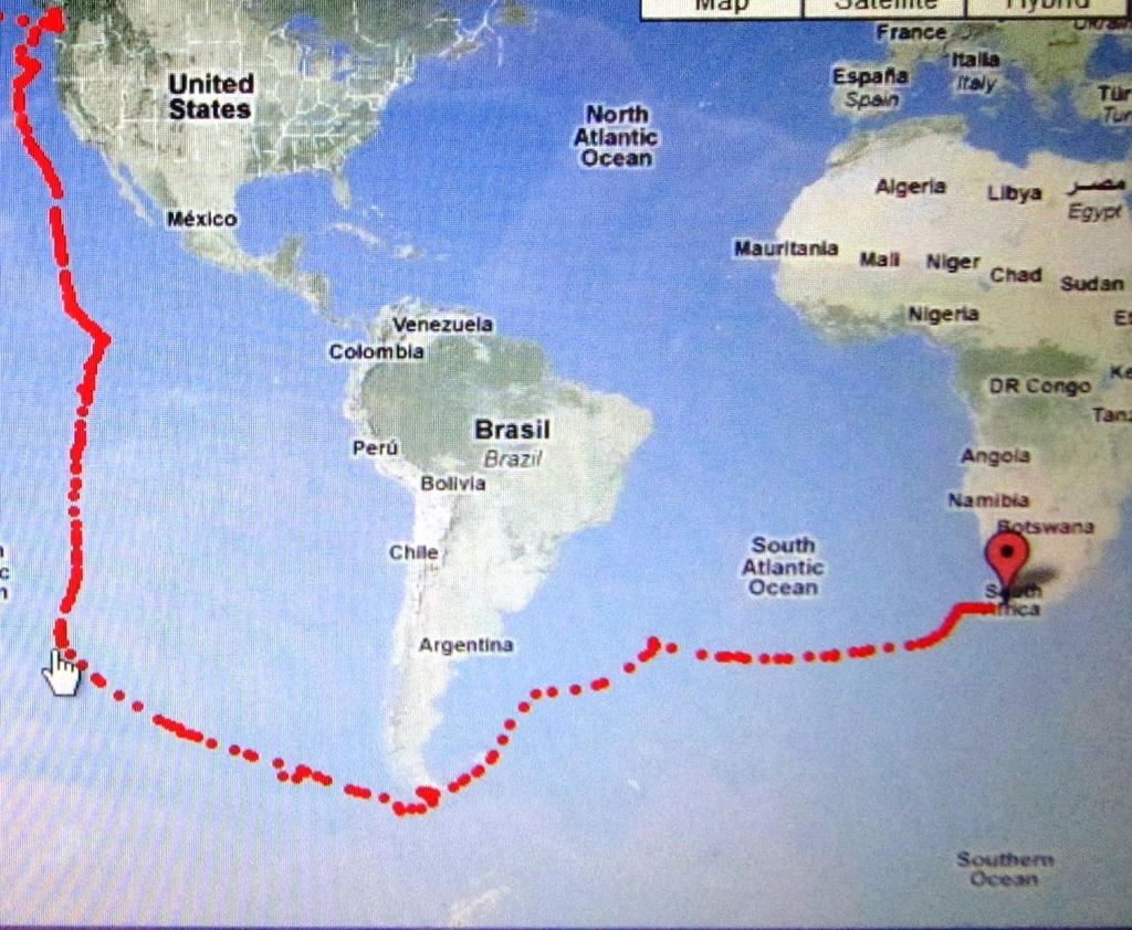 2010 11 S.Africa arrival was in May from 1st Gt Cape Horn Falklands Gough Isl. from Juan de Fuca