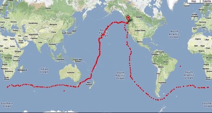 2012 13 Nonstop solo unassisted RTW route