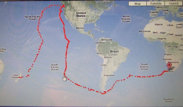 NZ to Str. of Juan de Fuca to C. Horn to Falklands to SA 11May2011